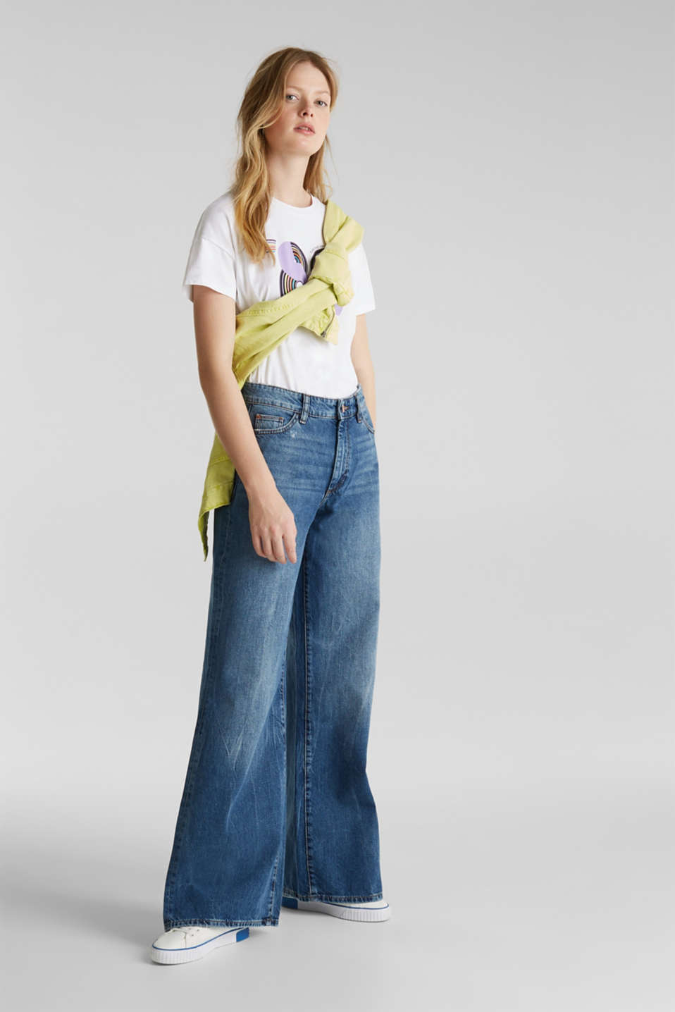 Jeans with an extra wide leg, 100% cotton, BLUE MEDIUM WASH, detail image number 1