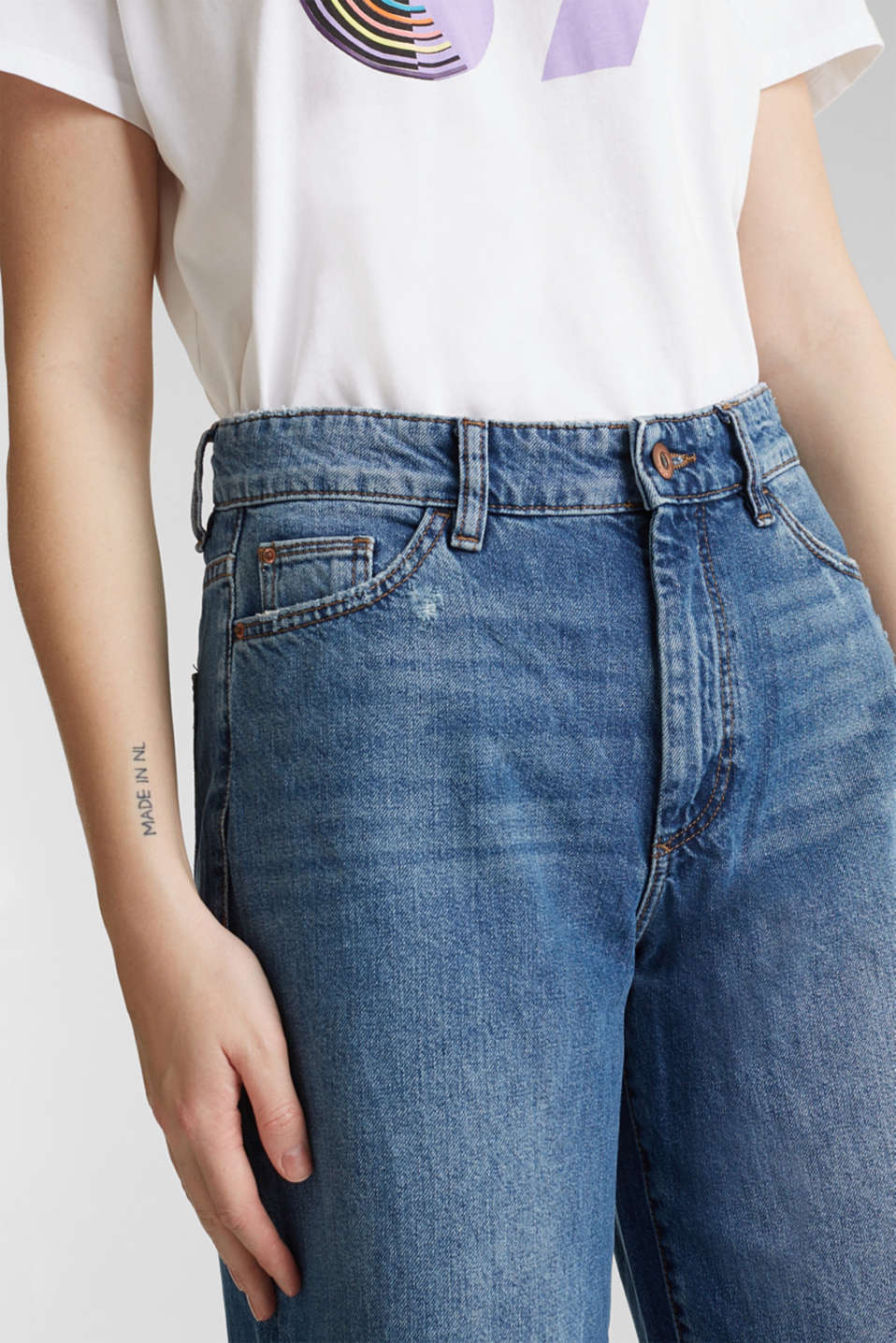 Jeans with an extra wide leg, 100% cotton, BLUE MEDIUM WASH, detail image number 2