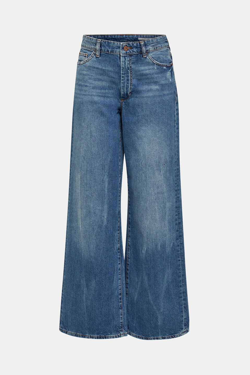 Jeans with an extra wide leg, 100% cotton, BLUE MEDIUM WASH, detail image number 6