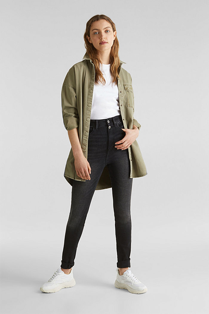 Jeans mit Doppelknopf, BLACK DARK WASHED, detail image number 1