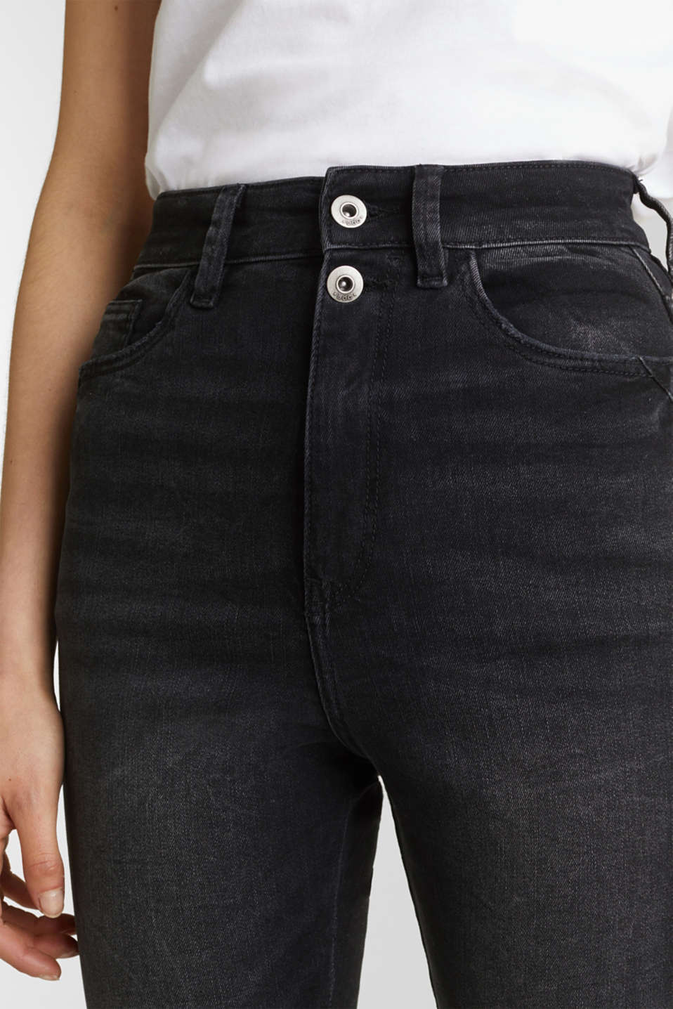Double button jeans, BLACK DARK WASH, detail image number 2