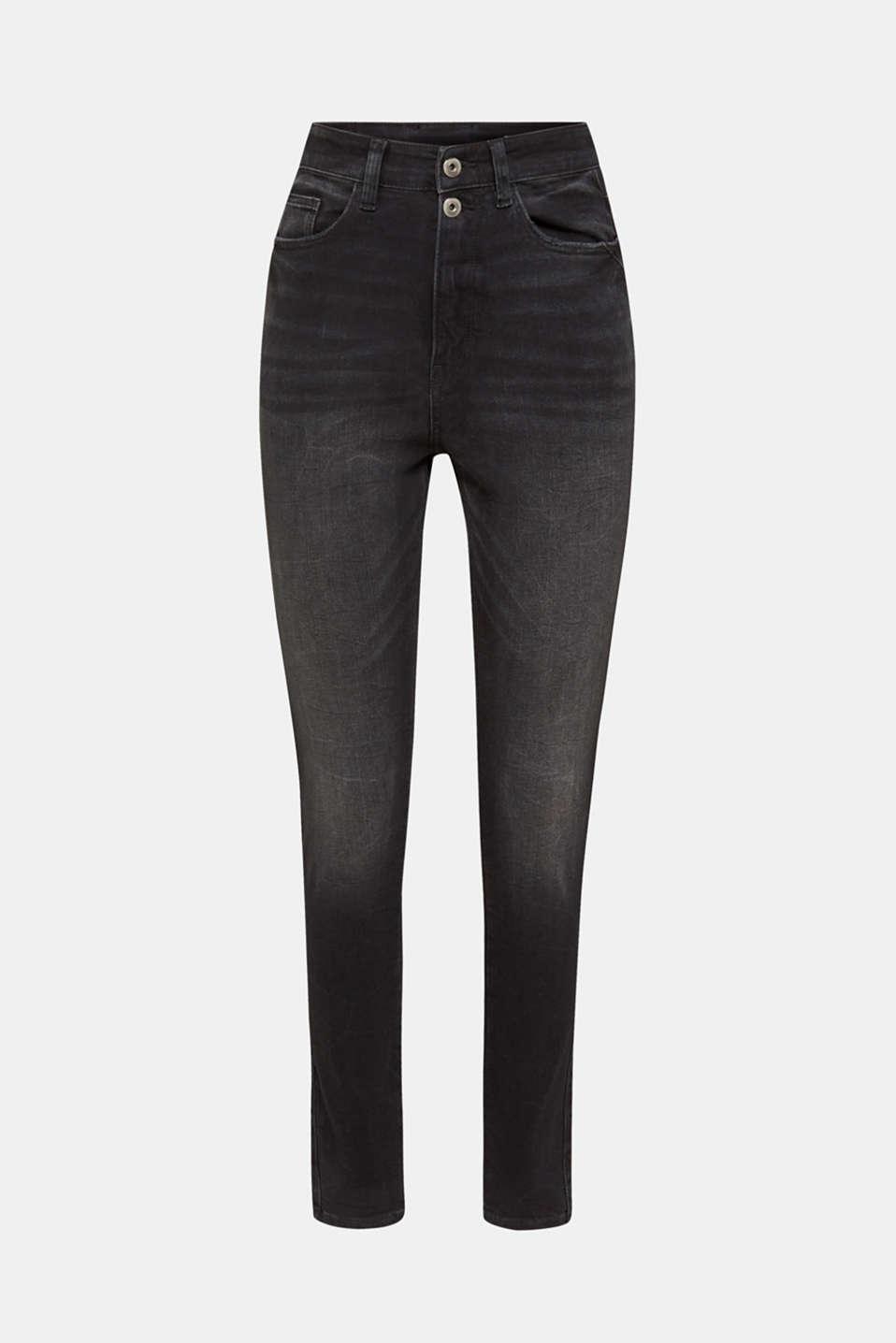 Double button jeans, BLACK DARK WASH, detail image number 7