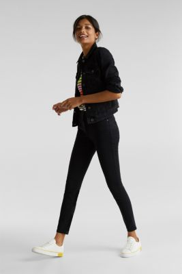 Ankle-length trousers in a garment-washed finish with organic cotton, BLACK, detail