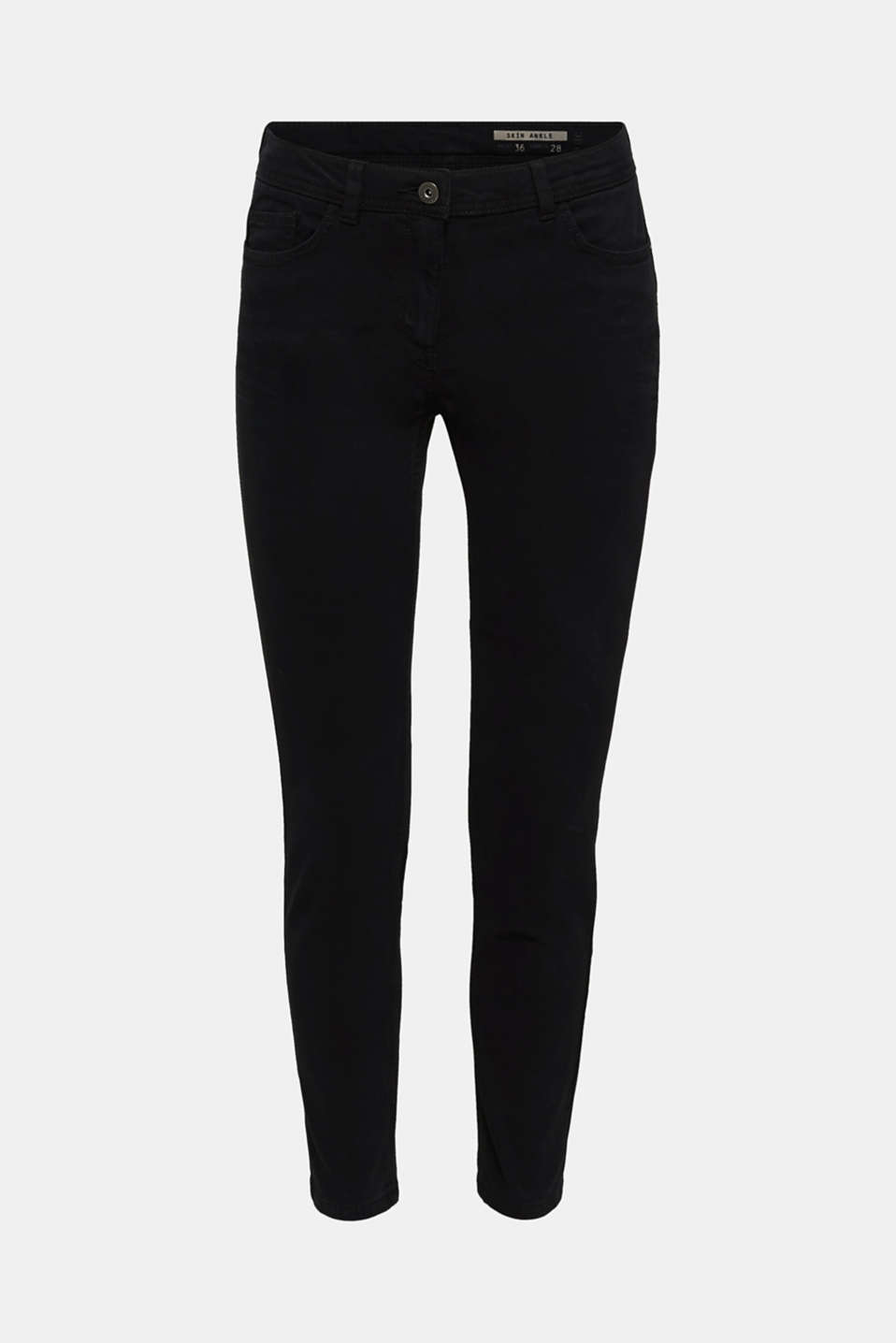 Ankle-length trousers in a garment-washed finish with organic cotton, BLACK, detail image number 6