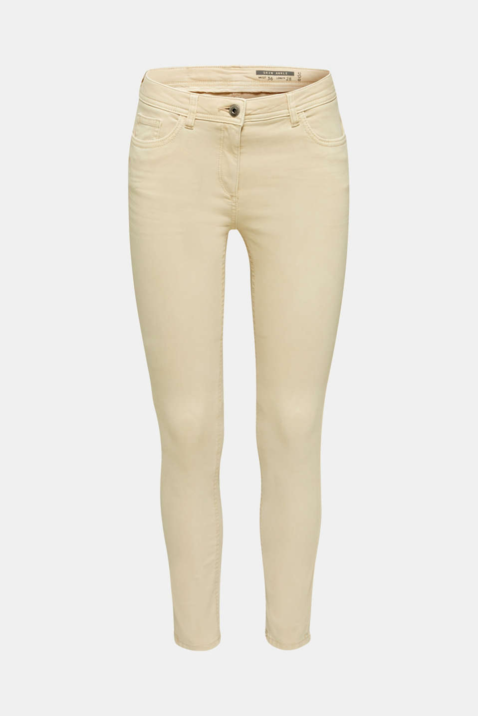 Ankle-length trousers in a garment-washed finish with organic cotton, SAND, detail image number 7