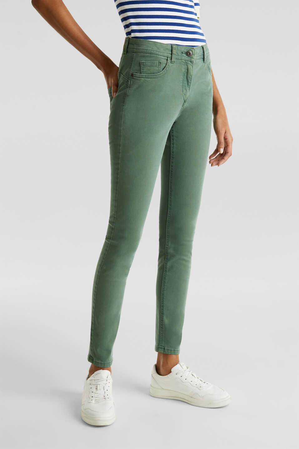 Ankle-length trousers in a garment-washed finish with organic cotton, KHAKI GREEN, detail image number 6