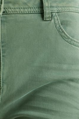 Trousers in a garment washed look, KHAKI GREEN, detail