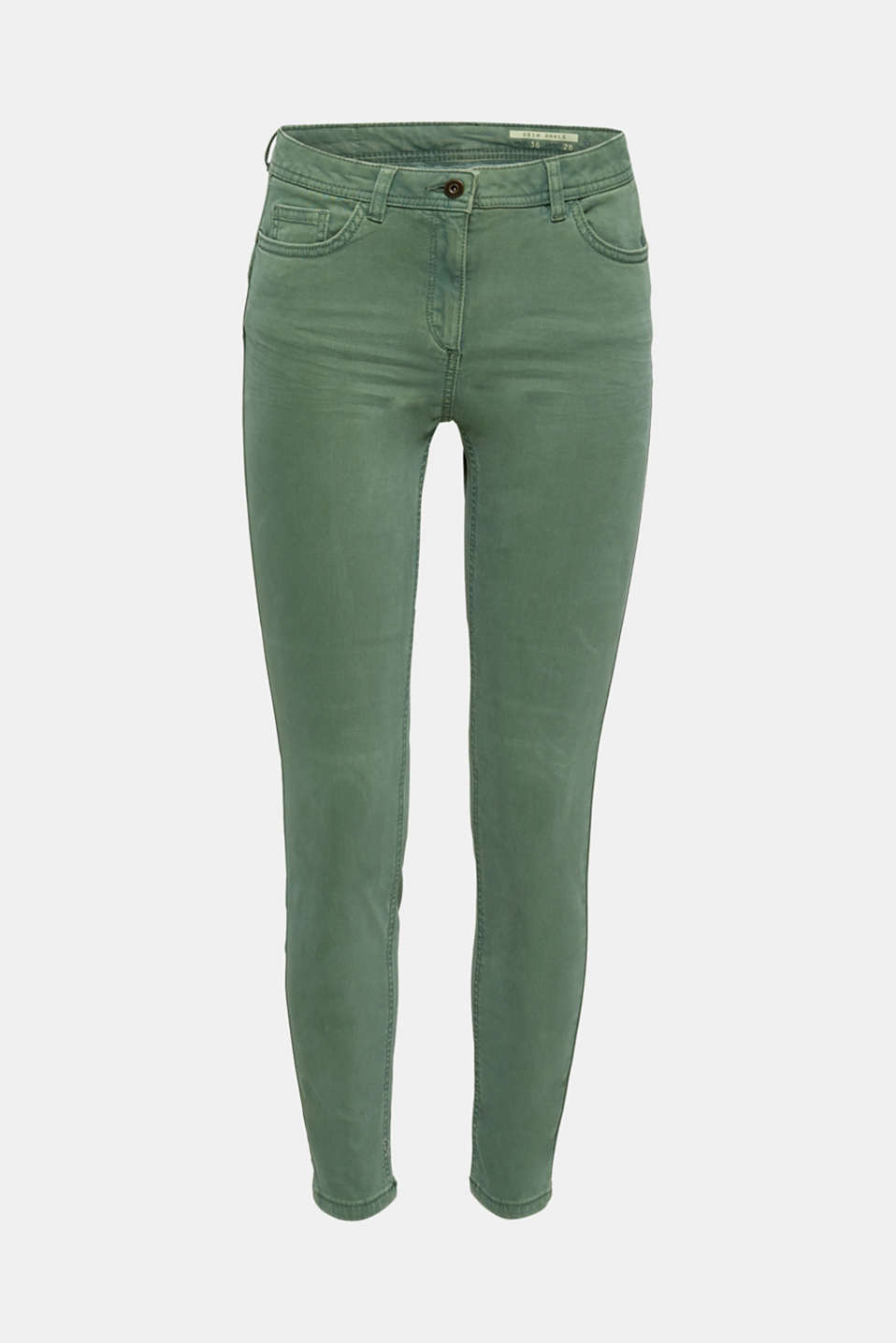 Ankle-length trousers in a garment-washed finish with organic cotton, KHAKI GREEN, detail image number 7