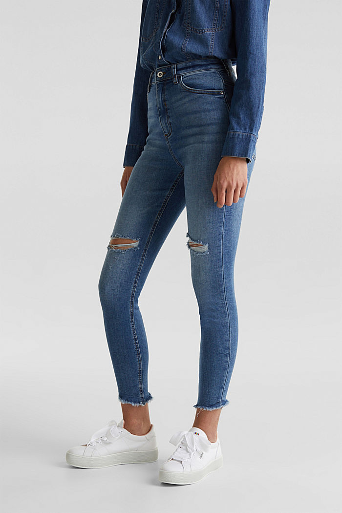 Knöchellange Used-Jeans mit Fransen-Saum, BLUE MEDIUM WASHED, detail image number 0