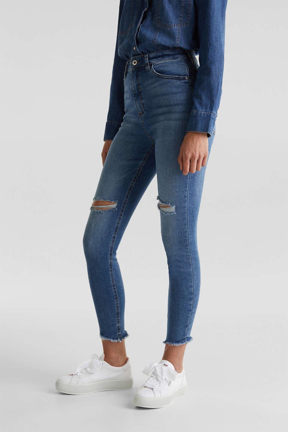 Ankle-length vintage jeans with frayed hems, BLUE MEDIUM WASH, detail image number 0