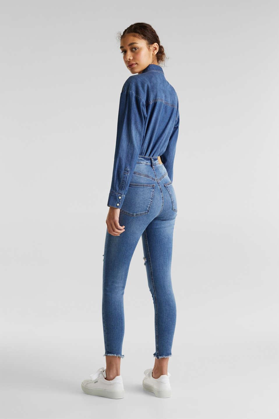 Ankle-length vintage jeans with frayed hems, BLUE MEDIUM WASH, detail image number 3