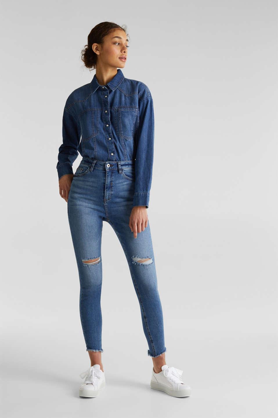 Ankle-length vintage jeans with frayed hems, BLUE MEDIUM WASH, detail image number 6