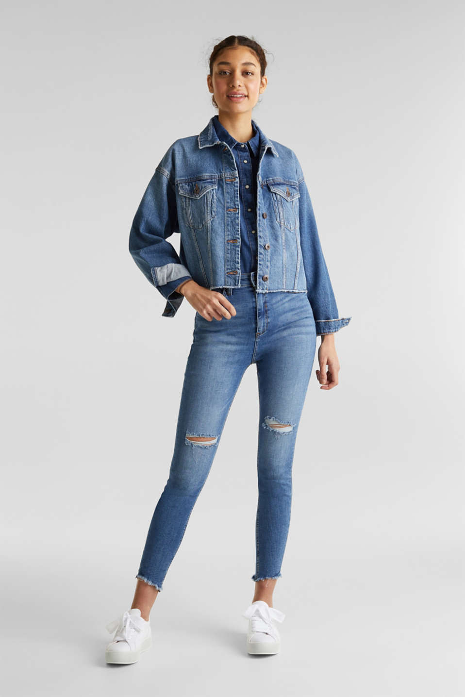 Ankle-length vintage jeans with frayed hems, BLUE MEDIUM WASH, detail