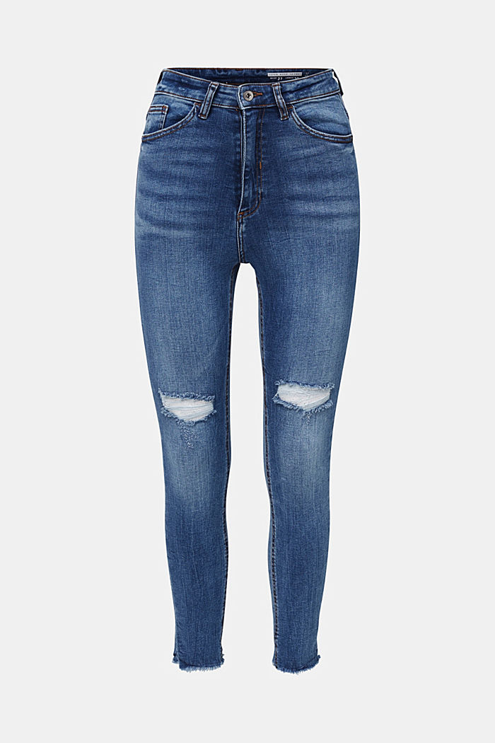 Ankle-length vintage jeans with frayed hems