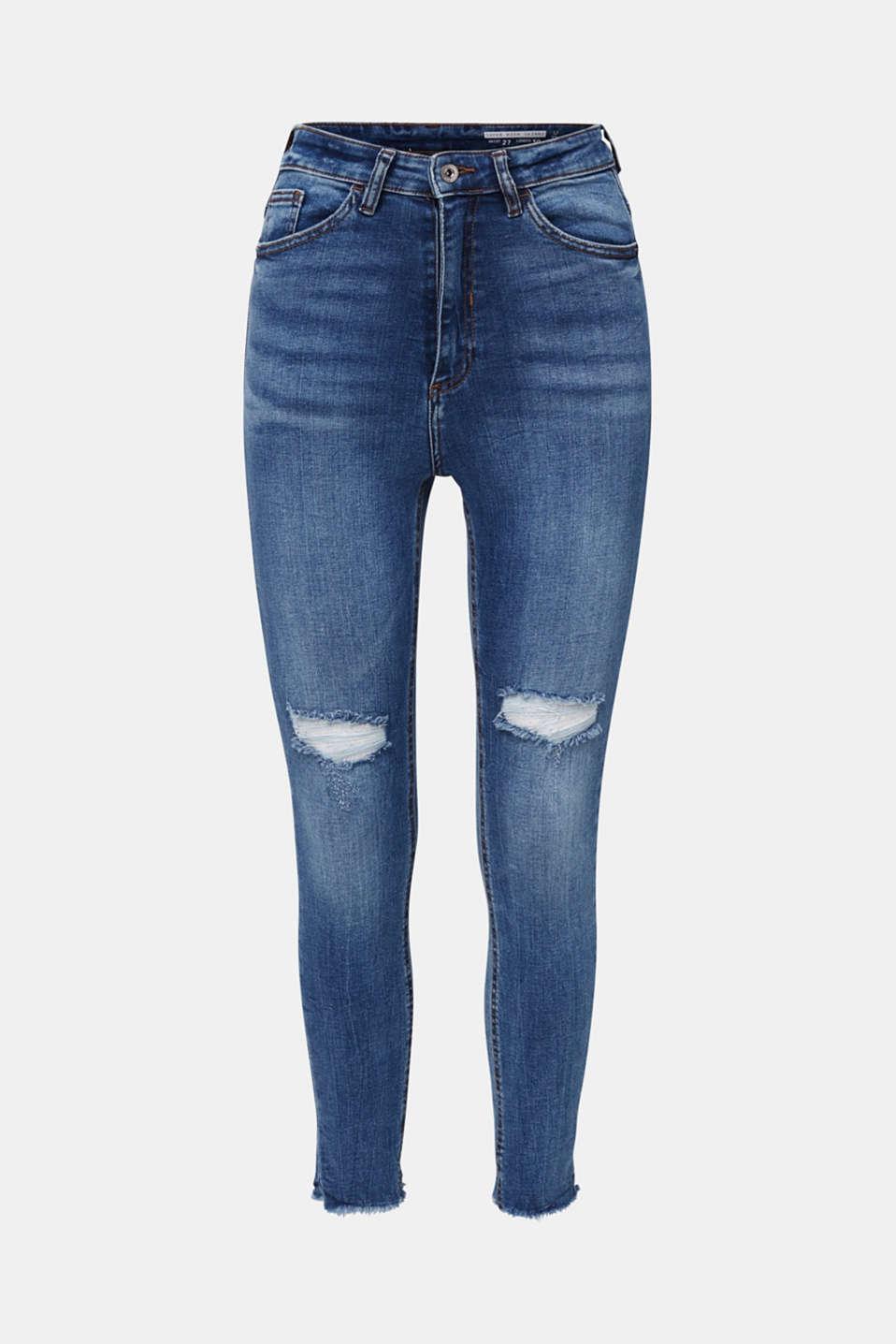 Ankle-length vintage jeans with frayed hems, BLUE MEDIUM WASH, detail image number 7
