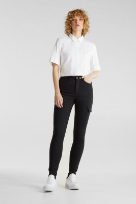 Cargo jeans with a shaping effect, BLACK, detail