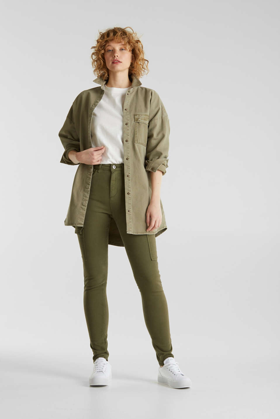 Cargo jeans with a shaping effect, KHAKI GREEN, detail image number 1
