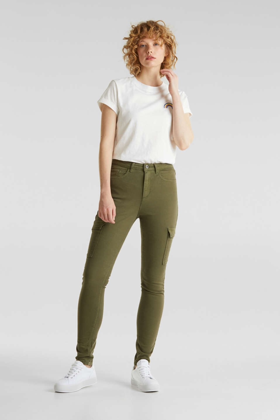 Cargo jeans with a shaping effect, KHAKI GREEN, detail image number 6