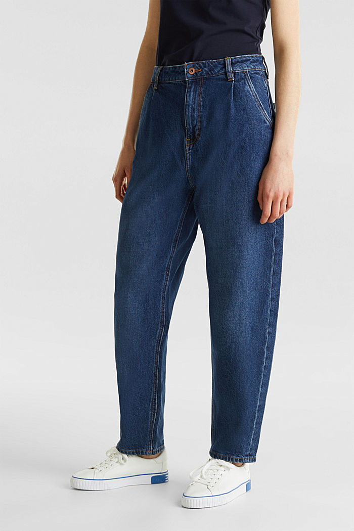 Fashion jeans with waist pleats and TENCEL™, BLUE MEDIUM WASHED, detail image number 0