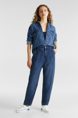Fashion jeans with waist pleats and TENCEL™, BLUE MEDIUM WASH, detail