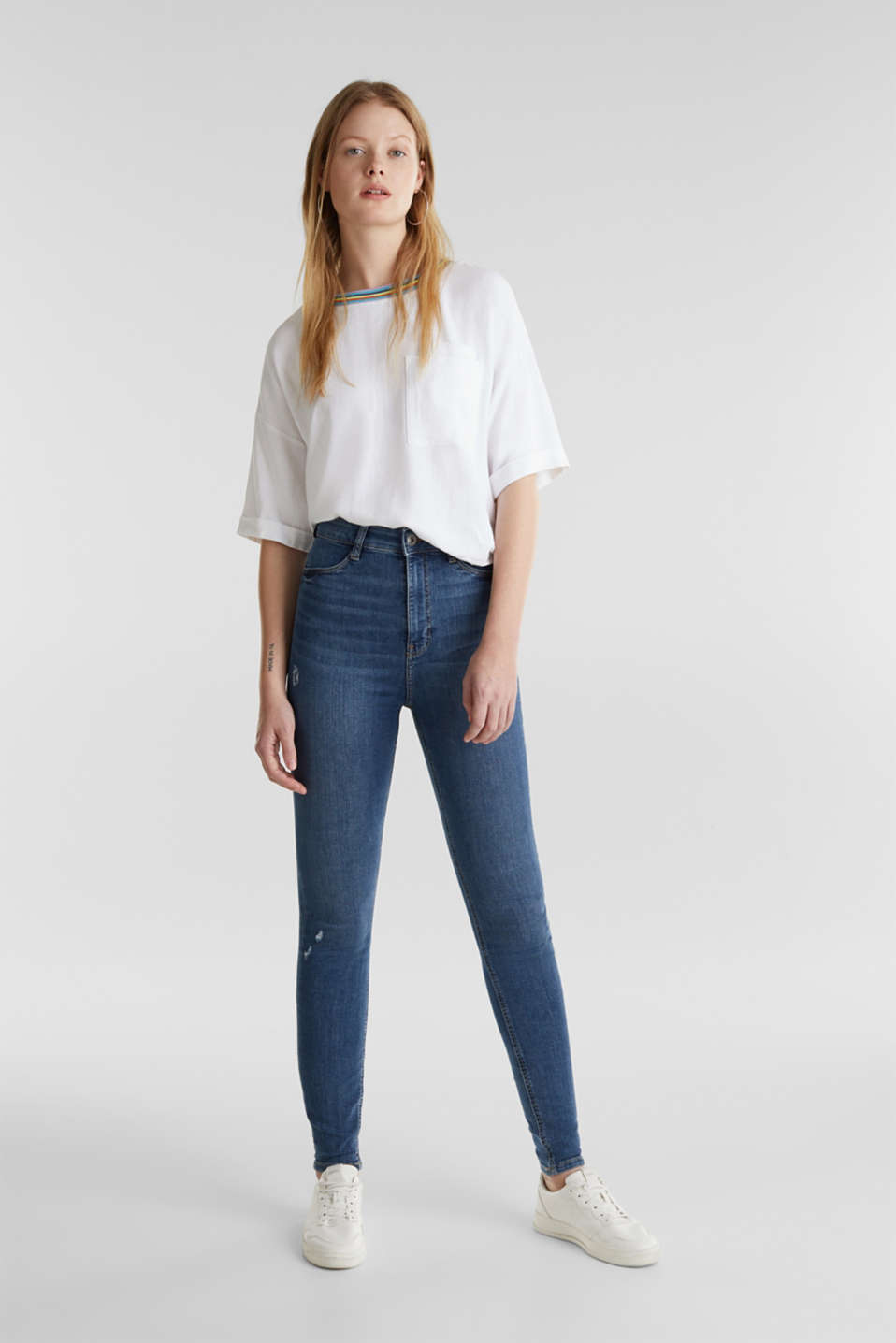 High-waisted jeggings with vintage effects, BLUE MEDIUM WASH, detail image number 1