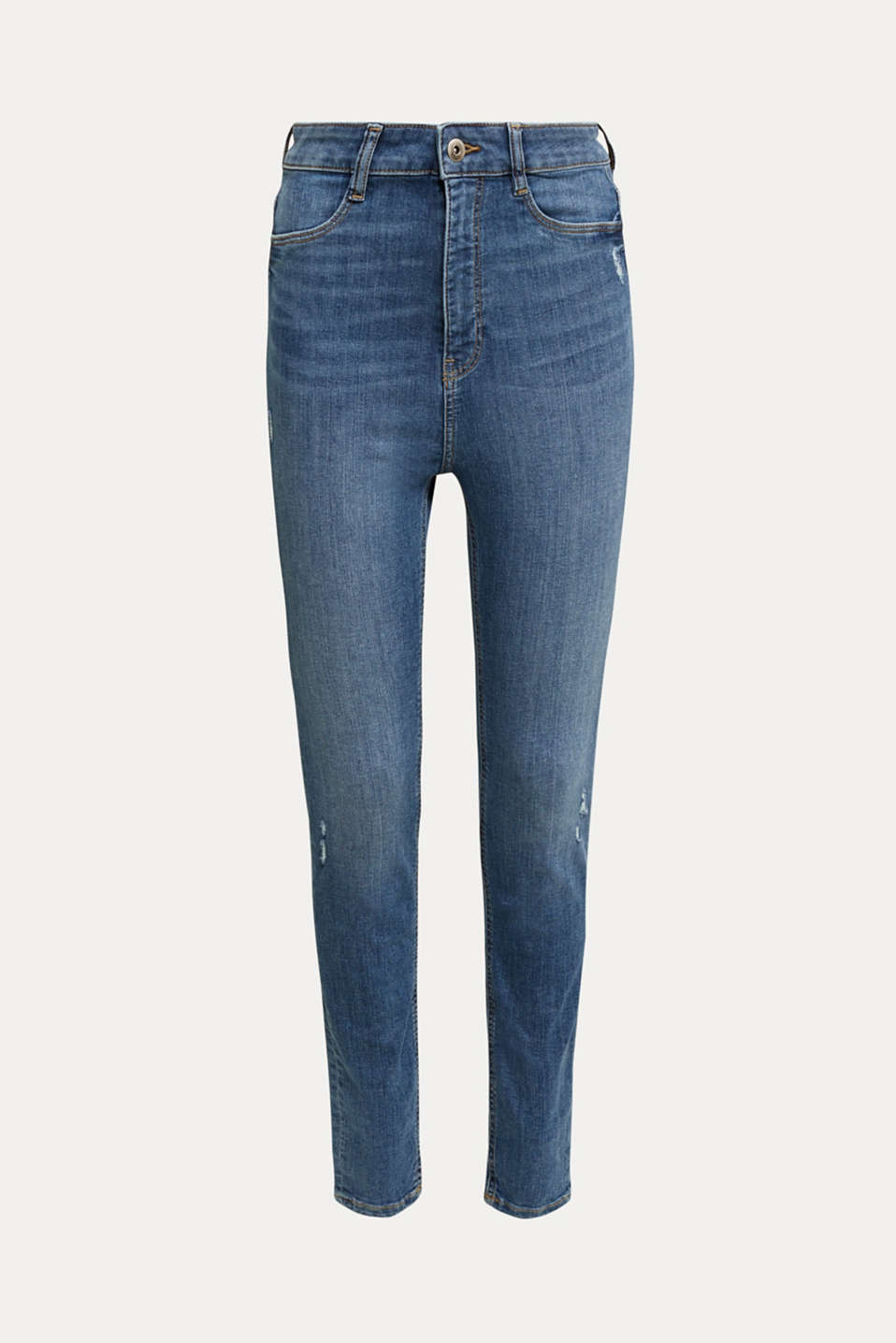 High-waisted jeggings with vintage effects, BLUE MEDIUM WASH, detail image number 7