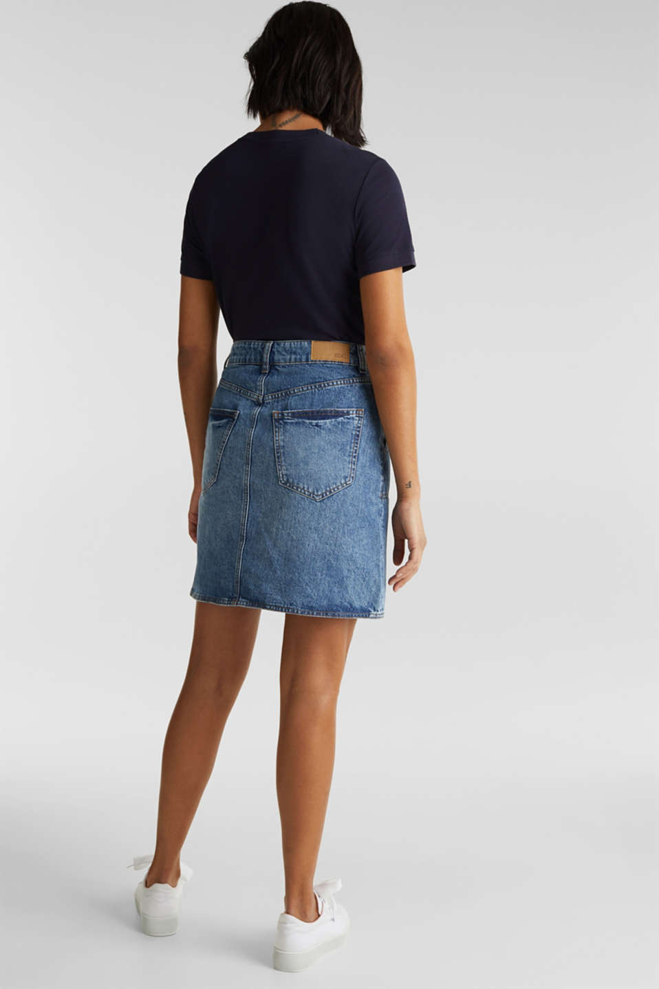 Bleached denim skirt, 100% cotton, BLUE MEDIUM WASH, detail image number 3
