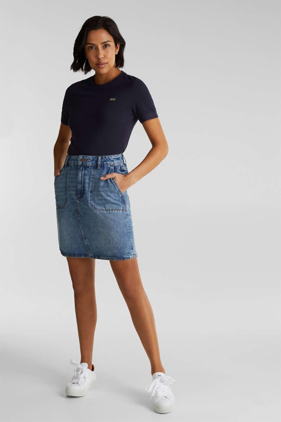 Bleached denim skirt, 100% cotton, BLUE MEDIUM WASH, detail image number 1