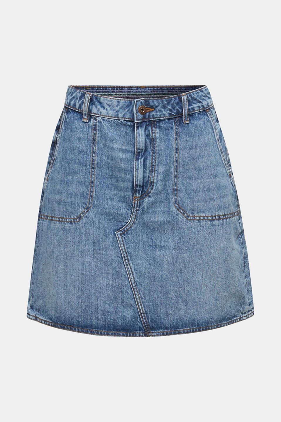 Bleached denim skirt, 100% cotton, BLUE MEDIUM WASH, detail image number 6