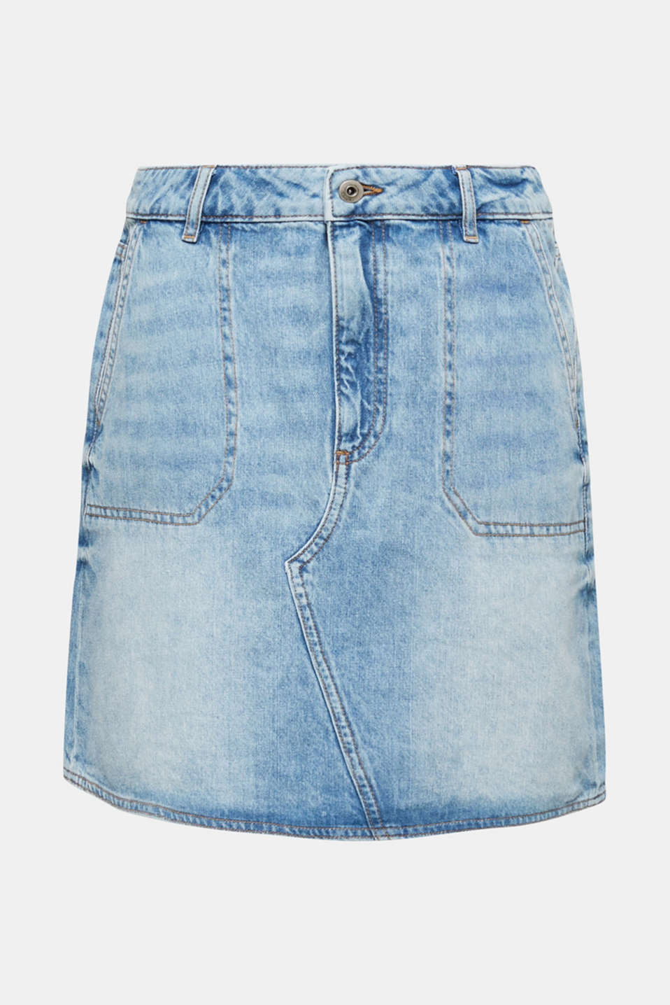 Bleached denim skirt, 100% cotton, BLUE BLEACHED, detail image number 6