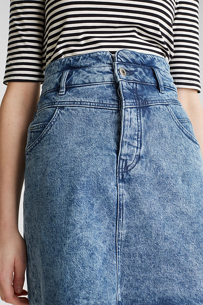Denim skirt with a button placket, recycled, BLUE BLEACHED, detail image number 2