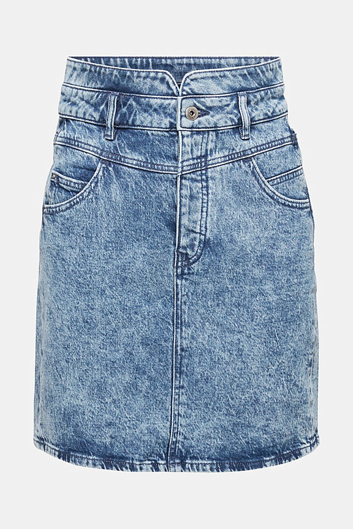 Denim skirt with a button placket, recycled