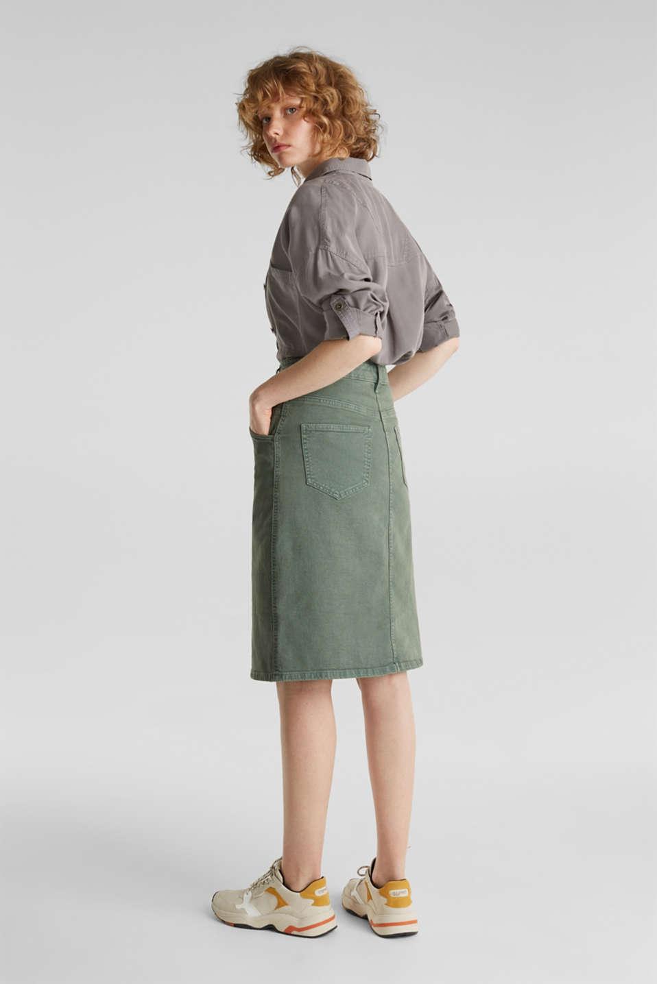 Stretch cotton skirt, KHAKI GREEN, detail image number 3
