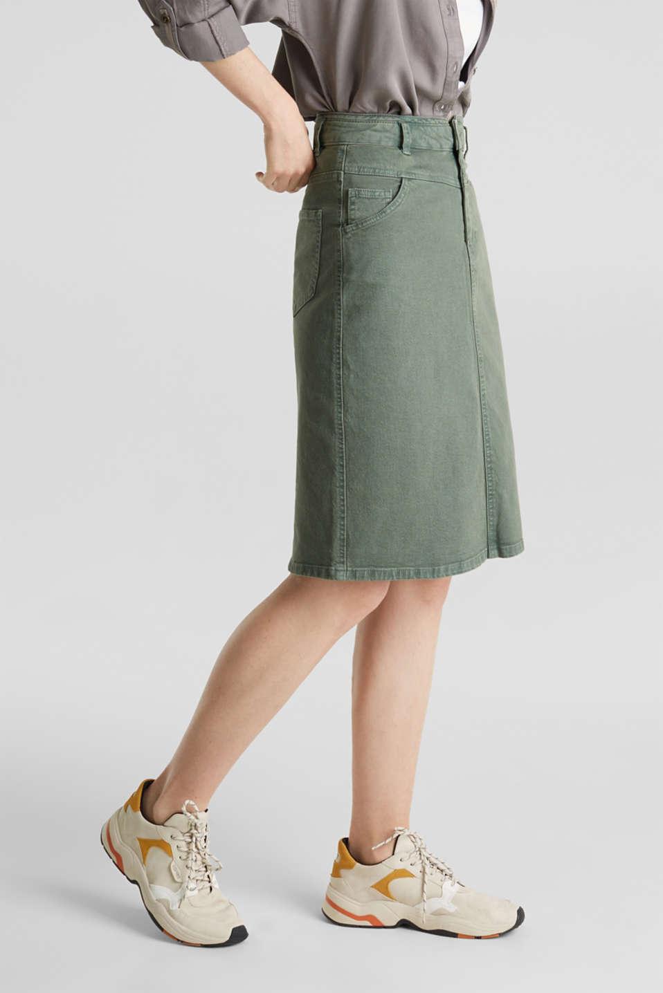 Stretch cotton skirt, KHAKI GREEN, detail image number 6