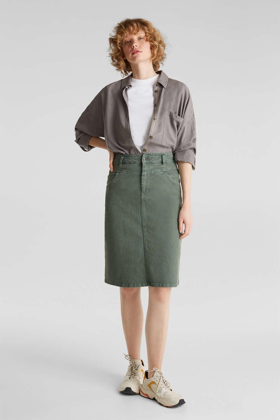 Stretch cotton skirt, KHAKI GREEN, detail image number 1