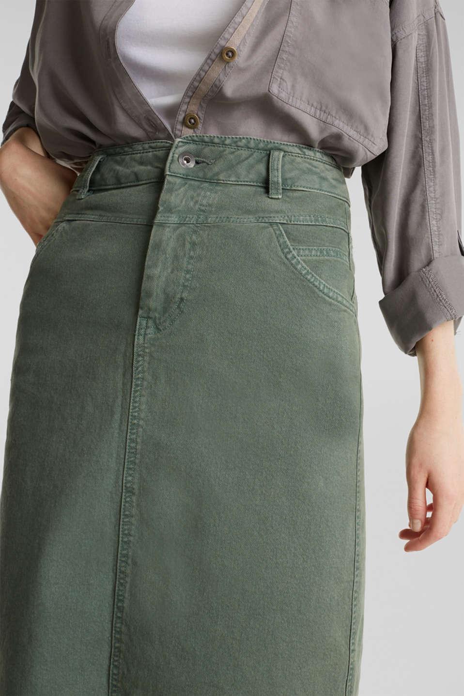 Stretch cotton skirt, KHAKI GREEN, detail image number 2