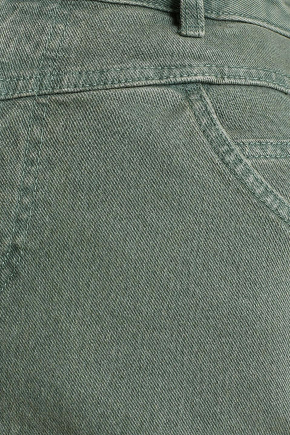 Stretch cotton skirt, KHAKI GREEN, detail image number 4