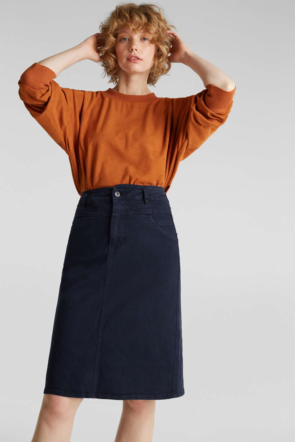 Stretch cotton skirt, NAVY, detail image number 0