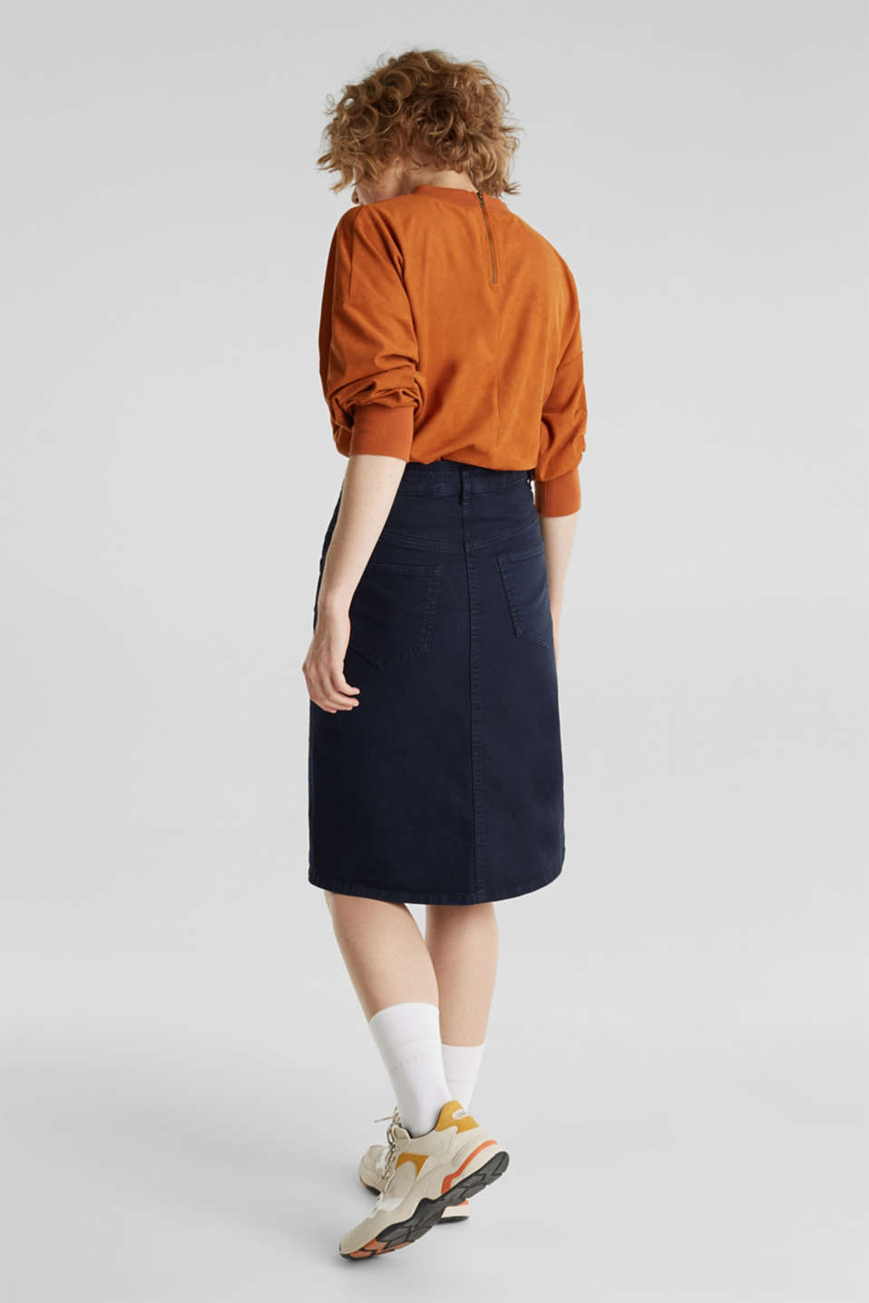 High-waist skirt made of stretch cotton, NAVY, detail image number 3