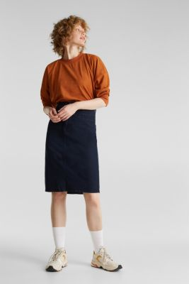 Stretch cotton skirt, NAVY, detail