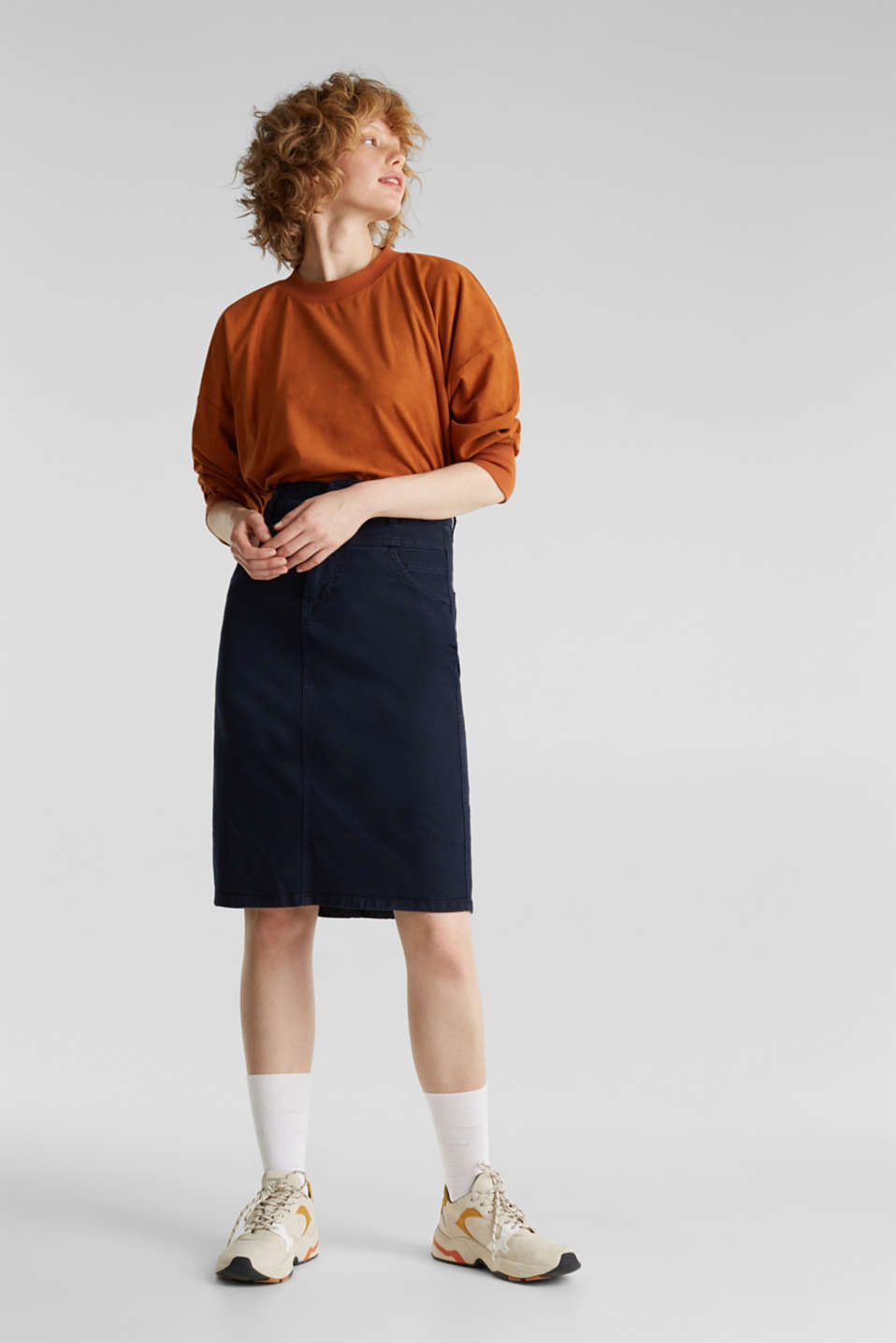 High-waist skirt made of stretch cotton, NAVY, detail image number 1
