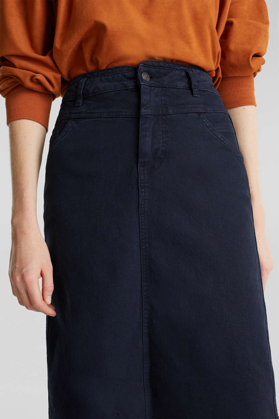 High-waist skirt made of stretch cotton, NAVY, detail image number 2