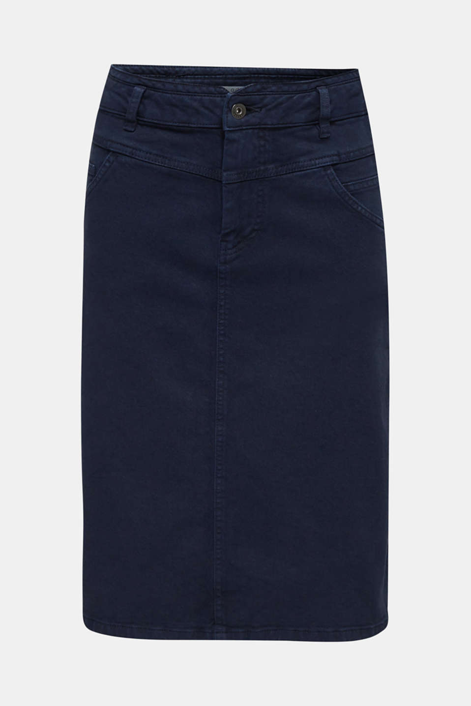 Stretch cotton skirt, NAVY, detail image number 6