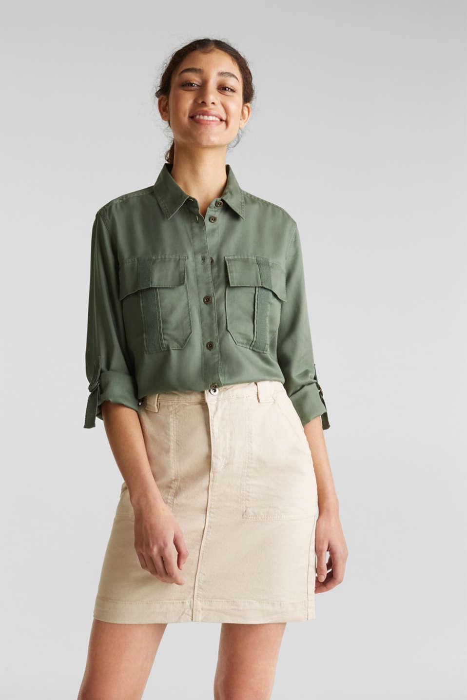Denim skirt with pockets, SAND, detail image number 0