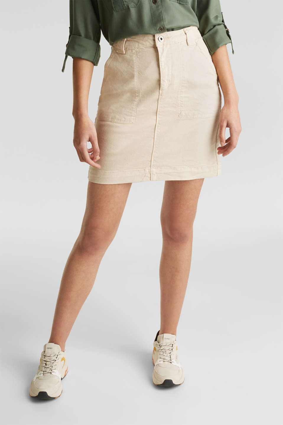 Denim skirt with pockets, SAND, detail image number 4