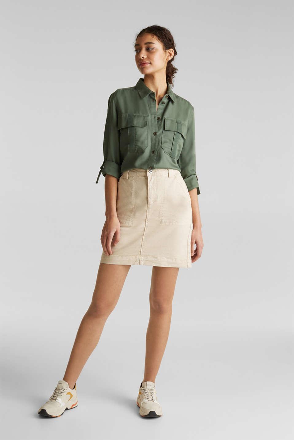 Denim skirt with pockets, SAND, detail image number 1
