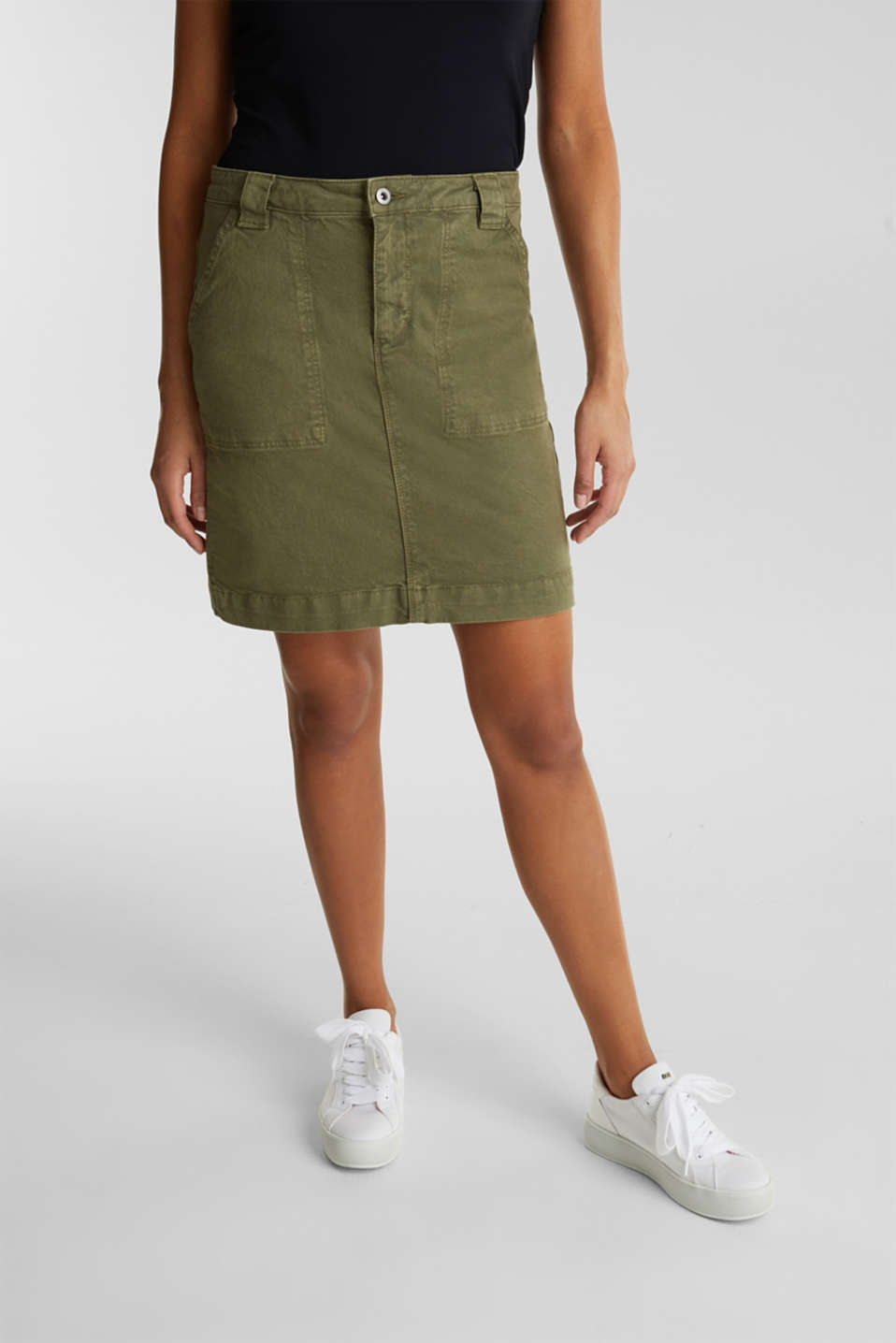 Denim skirt with pockets, KHAKI GREEN, detail image number 0