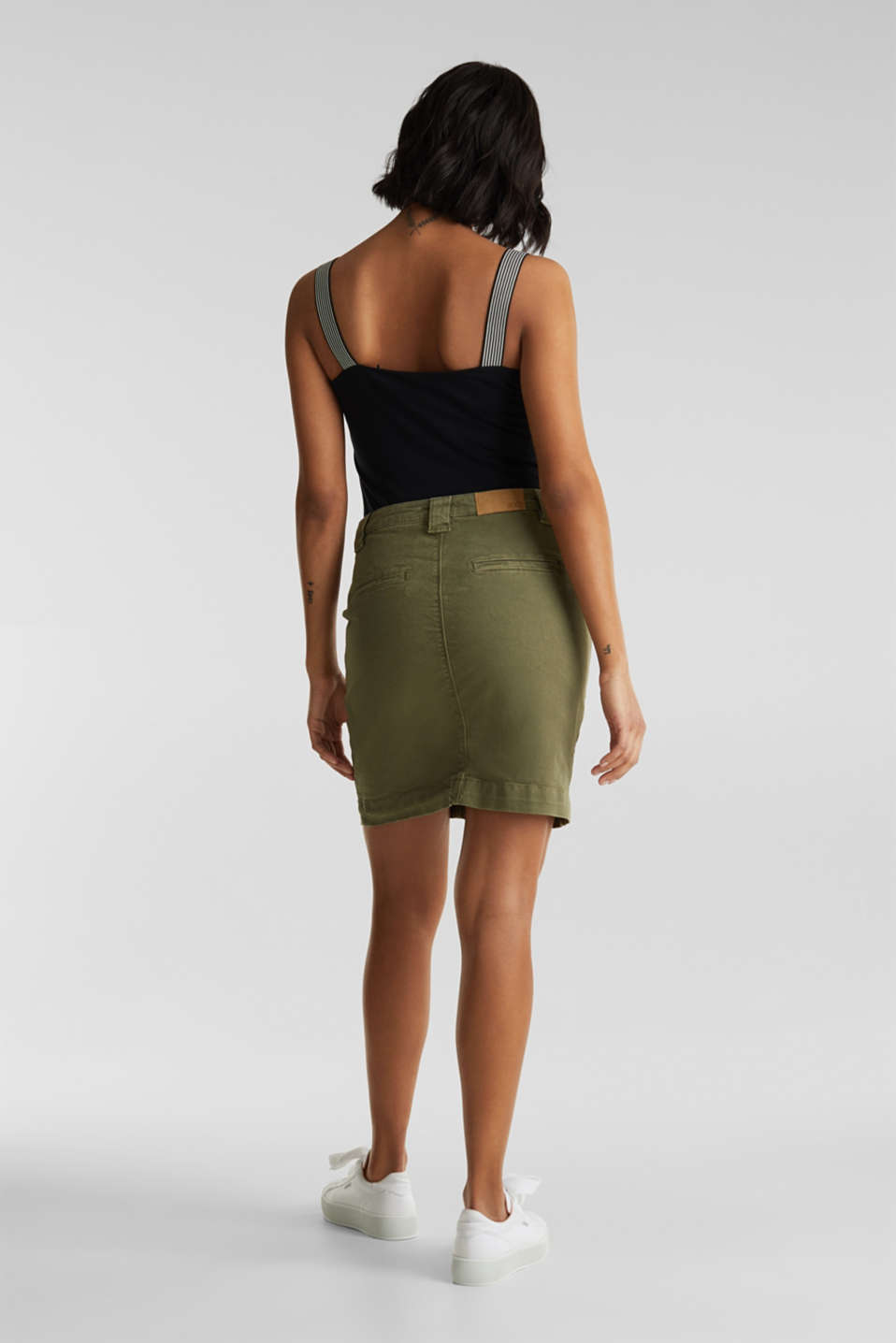 Denim skirt with pockets, KHAKI GREEN, detail image number 3