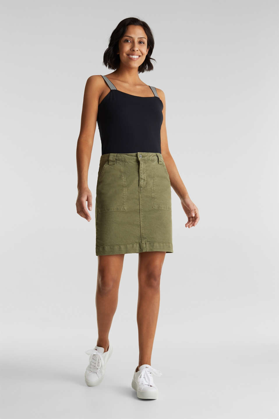Denim skirt with pockets, KHAKI GREEN, detail image number 1