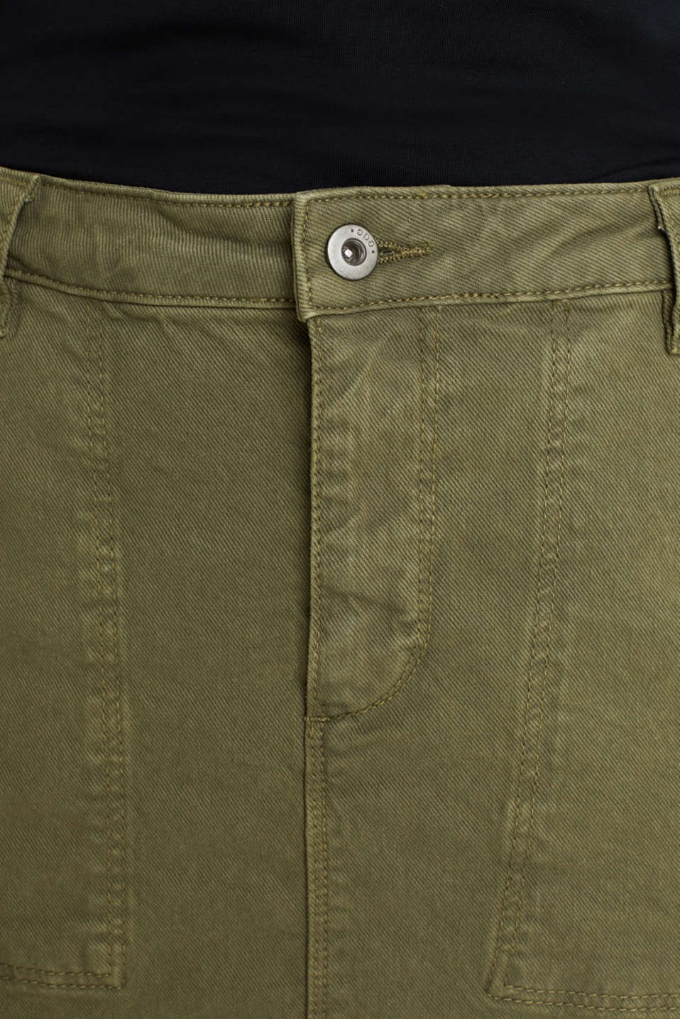 Denim skirt with pockets, KHAKI GREEN, detail image number 2
